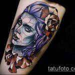 ЦВЕТНЫЕ ТАТУИРОВКИ №365 - эксклюзивный вариант рисунка, который хорошо можно использовать для преобразования и нанесения как цветные татуировки на ноге