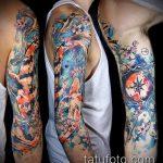 ЦВЕТНЫЕ ТАТУИРОВКИ №348 - прикольный вариант рисунка, который удачно можно использовать для доработки и нанесения как цветные татуировки для девушек