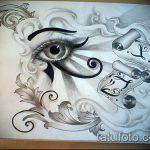глаз гора тату №57 - прикольный вариант рисунка, который легко можно использовать для переработки и нанесения как глаз гора тату на спине