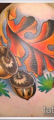 дубовые листья тату №660 – достойный вариант рисунка, который хорошо можно использовать для переделки и нанесения как тату дубовые листья