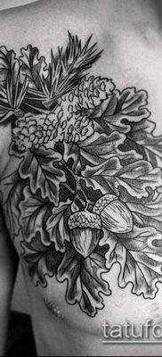 дубовые листья тату №116 – интересный вариант рисунка, который успешно можно использовать для доработки и нанесения как дубовые листья тату на