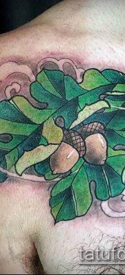 дубовые листья тату №554 – классный вариант рисунка, который легко можно использовать для преобразования и нанесения как дубовые листья тату хной