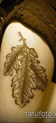 дубовые листья тату №918 – прикольный вариант рисунка, который удачно можно использовать для переделки и нанесения как листья дуба тату