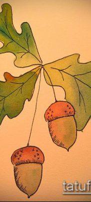 дубовые листья тату №561 – уникальный вариант рисунка, который успешно можно использовать для доработки и нанесения как листья дуба тату