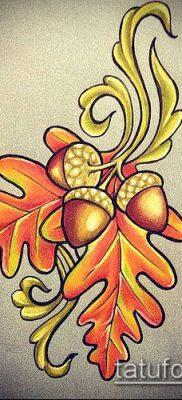 дубовые листья тату №371 – классный вариант рисунка, который успешно можно использовать для доработки и нанесения как листья дуба тату