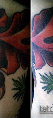 дубовые листья тату №495 – прикольный вариант рисунка, который легко можно использовать для доработки и нанесения как дубовые листья тату на
