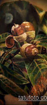 дубовые листья тату №585 – прикольный вариант рисунка, который легко можно использовать для переработки и нанесения как тату дубовые листья