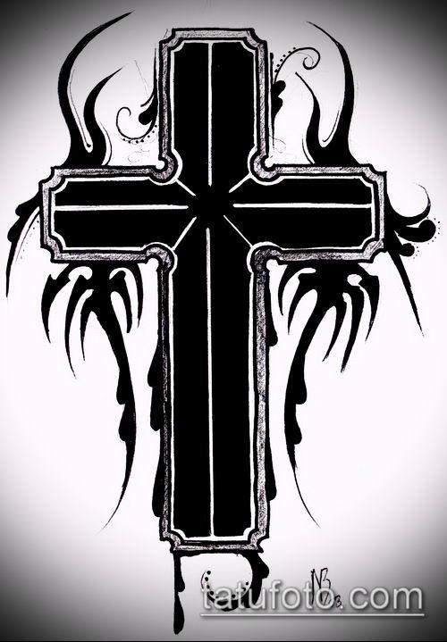 латинский крест тату №278 - достойный вариант рисунка, который удачно можно использовать для переделки и нанесения как латинский крест тату на шее