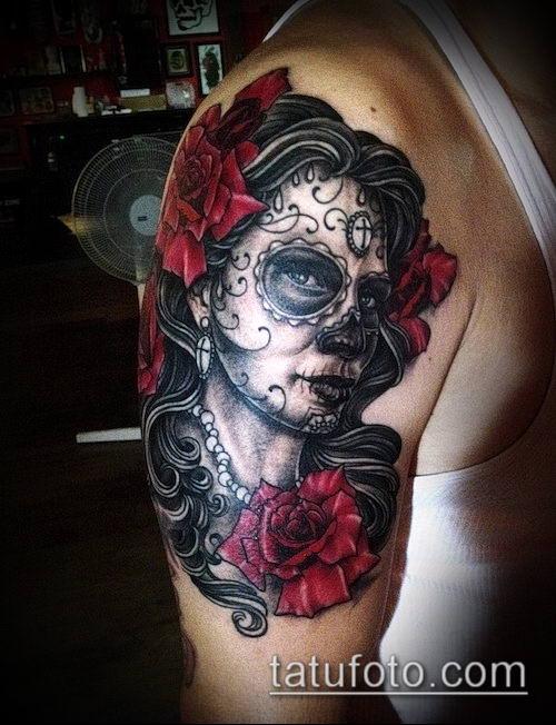 муэртос тату №237 - классный вариант рисунка, который удачно можно использовать для переделки и нанесения как муэртос тату предплечье