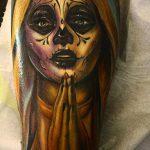 муэртос тату №171 - интересный вариант рисунка, который хорошо можно использовать для переделки и нанесения как муэртос тату предплечье