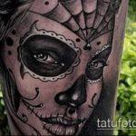 муэртос тату №429 - эксклюзивный вариант рисунка, который легко можно использовать для переработки и нанесения как муэртос тату маски