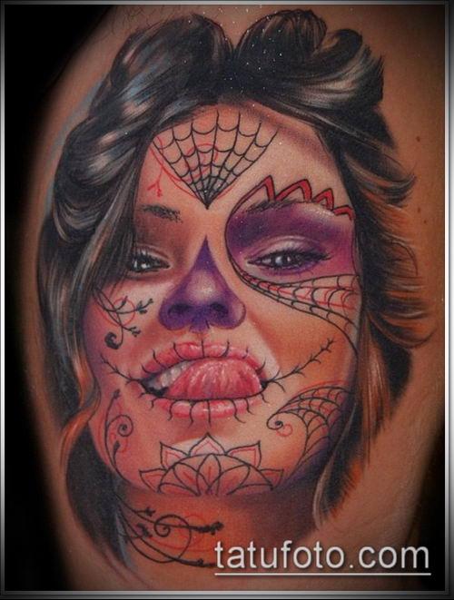 муэртос тату №271 - эксклюзивный вариант рисунка, который успешно можно использовать для переработки и нанесения как муэртос тату предплечье