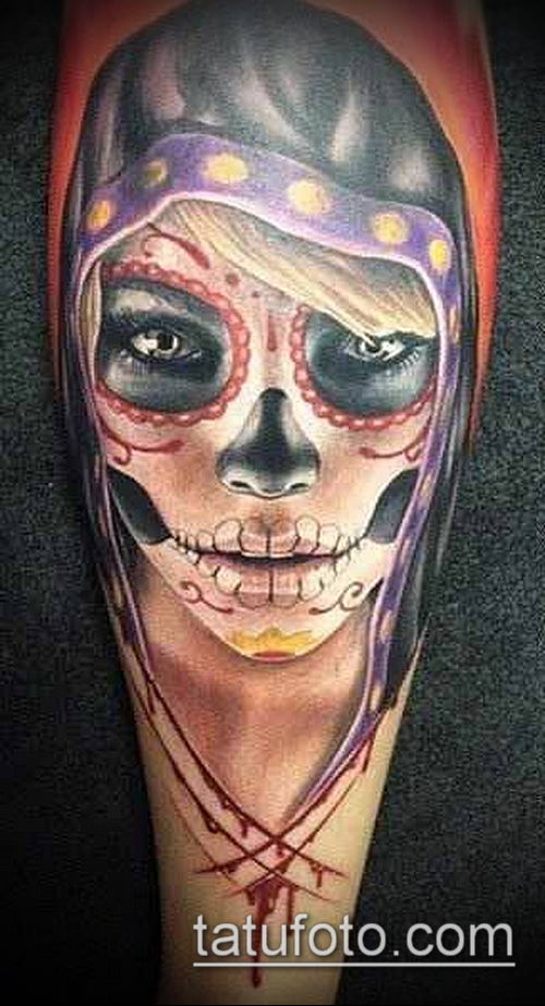 муэртос тату №330 - достойный вариант рисунка, который легко можно использовать для преобразования и нанесения как муэртос тату маски