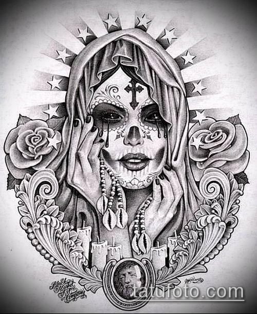 муэртос тату №292 - интересный вариант рисунка, который хорошо можно использовать для преобразования и нанесения как муэртос тату маски
