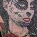 муэртос тату №661 - крутой вариант рисунка, который хорошо можно использовать для переработки и нанесения как тату санта муэрте