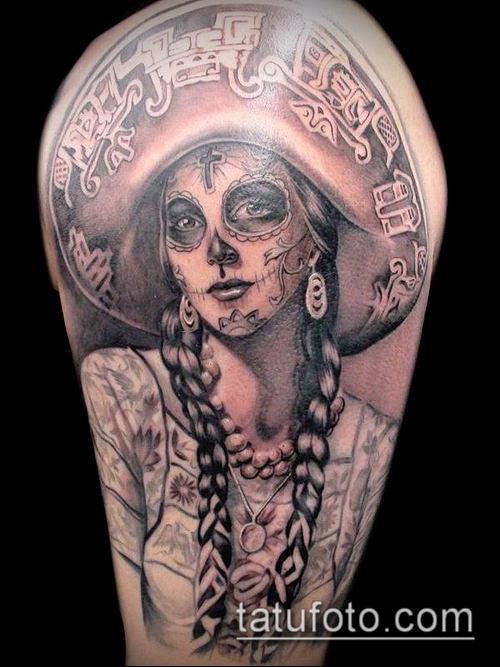 муэртос тату №317 - прикольный вариант рисунка, который хорошо можно использовать для доработки и нанесения как муэртос тату предплечье