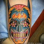 муэртос тату №739 - достойный вариант рисунка, который легко можно использовать для переделки и нанесения как муэртос тату предплечье
