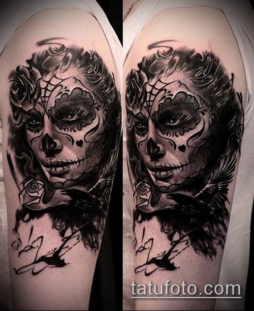 муэртос тату №271 - эксклюзивный вариант рисунка, который легко можно использовать для переработки и нанесения как муэртос тату на руке
