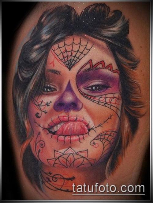 муэртос тату №219 - крутой вариант рисунка, который хорошо можно использовать для доработки и нанесения как тату санта муэрте