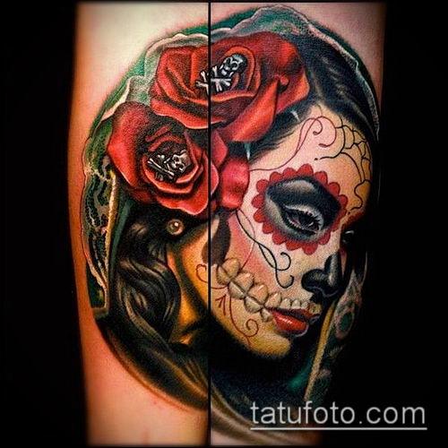 муэртос тату №910 - классный вариант рисунка, который легко можно использовать для доработки и нанесения как тату санта муэрте