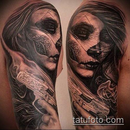 муэртос тату №21 - крутой вариант рисунка, который легко можно использовать для доработки и нанесения как муэртос тату