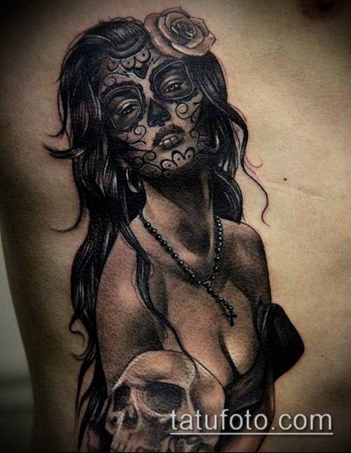 муэртос тату №99 - крутой вариант рисунка, который удачно можно использовать для переработки и нанесения как муэртос тату