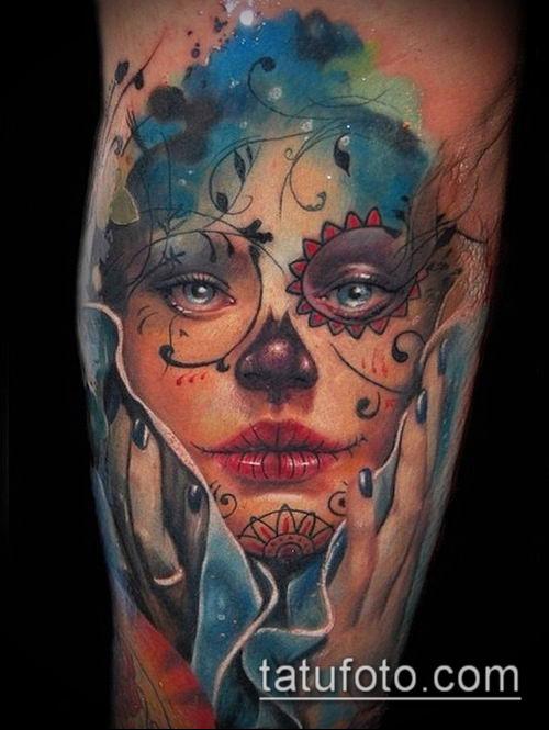 муэртос тату №138 - эксклюзивный вариант рисунка, который удачно можно использовать для переделки и нанесения как тату санта муэрте