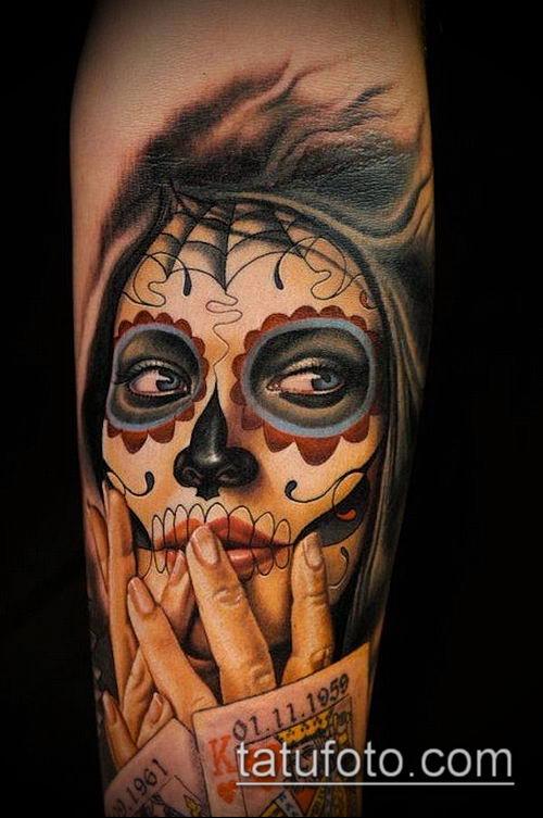муэртос тату №720 - достойный вариант рисунка, который хорошо можно использовать для преобразования и нанесения как муэртос тату рукав