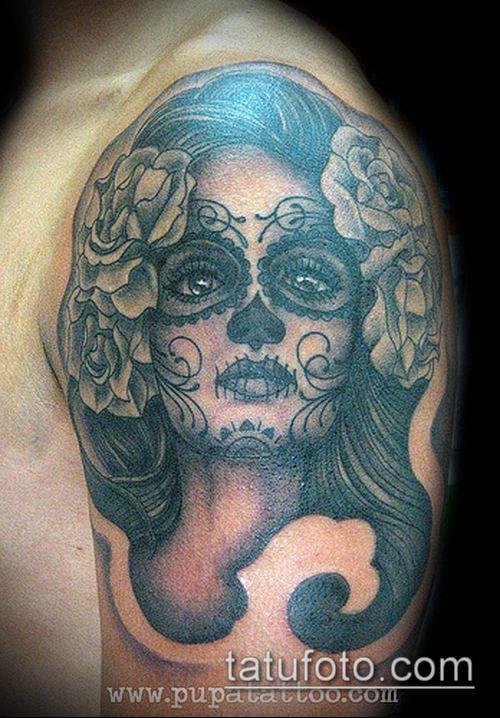 муэртос тату №281 - крутой вариант рисунка, который удачно можно использовать для переделки и нанесения как муэртос тату рукав
