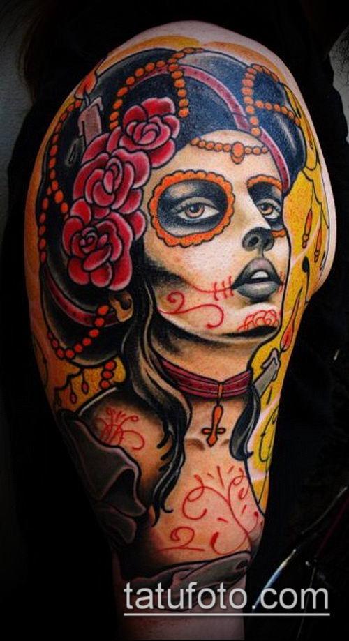 муэртос тату №126 - достойный вариант рисунка, который легко можно использовать для преобразования и нанесения как муэртос тату хной