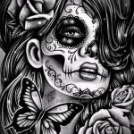 муэртос тату №163 - достойный вариант рисунка, который успешно можно использовать для доработки и нанесения как муэртос тату