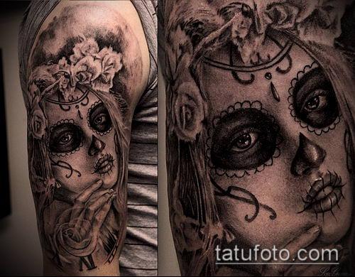 муэртос тату №125 - уникальный вариант рисунка, который легко можно использовать для переработки и нанесения как муэртос татуировки