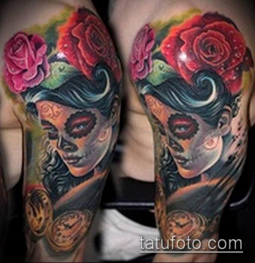 муэртос тату №331 - классный вариант рисунка, который успешно можно использовать для преобразования и нанесения как муэртос татуировки