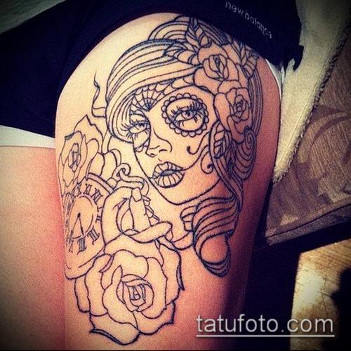 муэртос тату №297 - интересный вариант рисунка, который успешно можно использовать для переработки и нанесения как тату санта муэрте