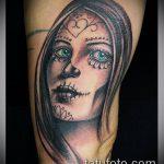 муэртос тату №611 - классный вариант рисунка, который удачно можно использовать для преобразования и нанесения как тату санта муэрте
