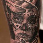 муэртос тату №49 - крутой вариант рисунка, который удачно можно использовать для переработки и нанесения как муэртос тату маски