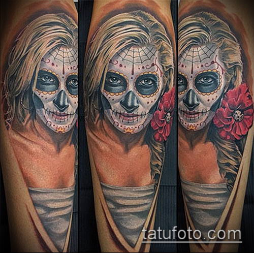 муэртос тату №393 - достойный вариант рисунка, который удачно можно использовать для доработки и нанесения как муэртос татуировки
