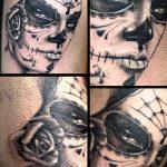 муэртос тату №781 - эксклюзивный вариант рисунка, который удачно можно использовать для переделки и нанесения как муэртос тату маски
