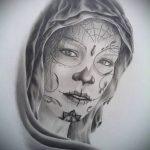 муэртос тату №587 - классный вариант рисунка, который хорошо можно использовать для переработки и нанесения как муэртос татуировки