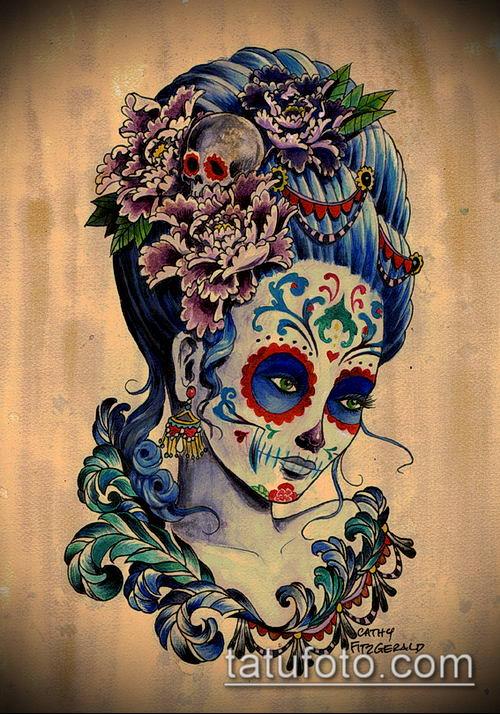 муэртос тату №31 - эксклюзивный вариант рисунка, который хорошо можно использовать для переработки и нанесения как муэртос тату на руке