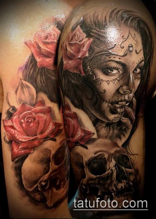 муэртос тату №595 - эксклюзивный вариант рисунка, который легко можно использовать для переделки и нанесения как муэртос тату предплечье