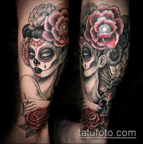 муэртос тату №931 - крутой вариант рисунка, который успешно можно использовать для доработки и нанесения как муэртос татуировки