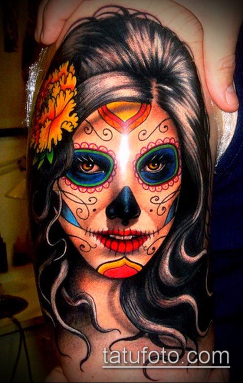 муэртос тату №135 - классный вариант рисунка, который хорошо можно использовать для доработки и нанесения как тату санта муэрте