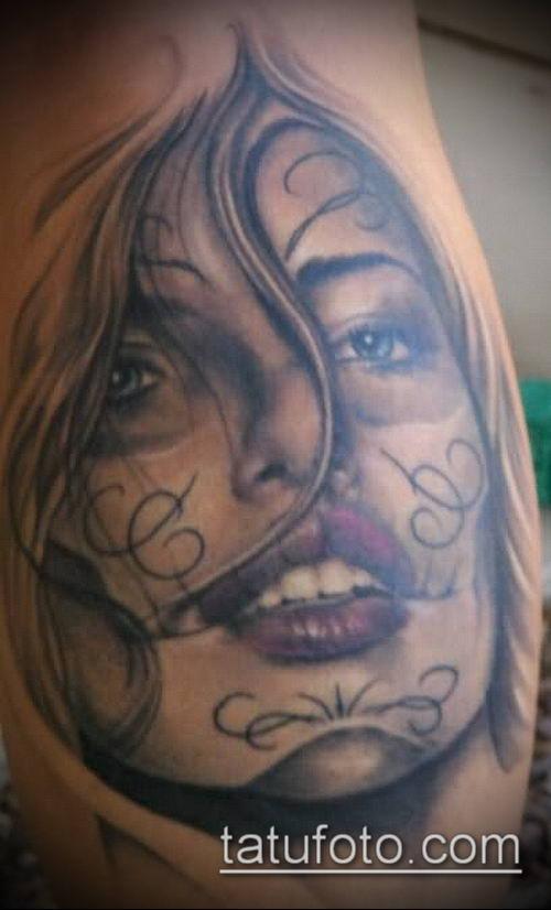 муэртос тату №121 - достойный вариант рисунка, который легко можно использовать для преобразования и нанесения как муэртос тату хной