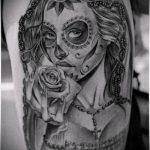 муэртос тату №568 - достойный вариант рисунка, который легко можно использовать для переработки и нанесения как муэртос татуировки