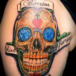 муэртос тату №664 - крутой вариант рисунка, который успешно можно использовать для переделки и нанесения как муэртос татуировки