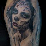 муэртос тату №916 - классный вариант рисунка, который успешно можно использовать для доработки и нанесения как тату санта муэрте