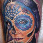 муэртос тату №844 - интересный вариант рисунка, который хорошо можно использовать для преобразования и нанесения как муэртос тату маски