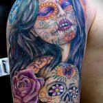 муэртос тату №604 - крутой вариант рисунка, который удачно можно использовать для переделки и нанесения как муэртос татуировки