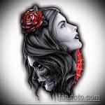 муэртос тату №945 - достойный вариант рисунка, который легко можно использовать для переделки и нанесения как муэртос тату предплечье